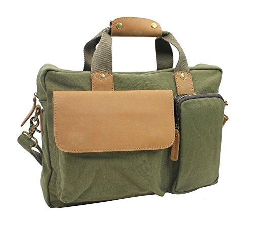 - Vintage Cotton Canvas Casual Style Canvas Laptop Messenger Bag CM01.GRN