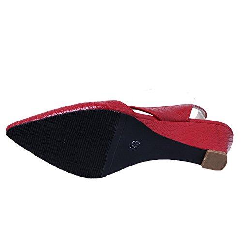 À Aalardom Femme Fermeture Texturé Légeres D'orteil Chaussures Rouge Talon Bas Tire wtgtxTZqr
