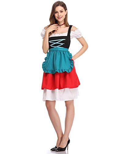 Clearlove Women German Dirndl Dress Costumes for Bavarian Oktoberfestl Halloween Carnival Retro Color L -