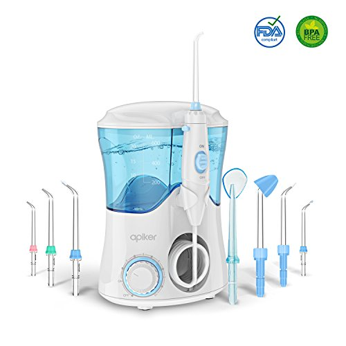 Price comparison product image Dental Water Flosser for Teeth and Braces with 8 Multifunctional Tips, Apiker 600ml Capacity Electric Oral Irrigator with 10 Water Pressure Settings for Family, FDA Approved