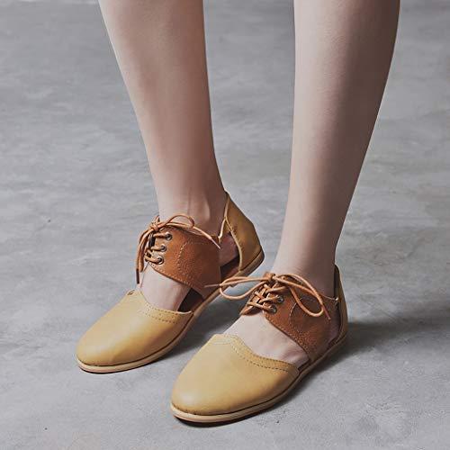 Plates Shoes Rond Bout Sandales Femmes Lacets Simples À Pour Ronde Chaussures Creux Marron Tête Couleur Femmes Romaines Rome Contrastante Sandaleschaussures Hit Plates t48Wq