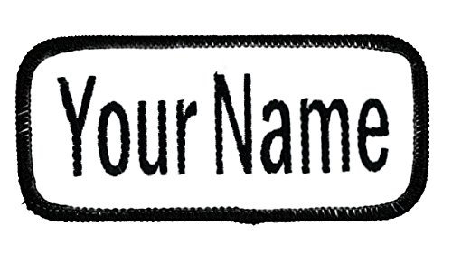 (Name patch Uniform or work shirt personalized Identification tape Embroidered Sew On, Hook Fastener or Iron on, White/Black Arial, SEW ON)