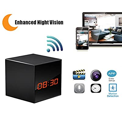 Hidden Camera HD Wireless Spy Network Camera Smart Clock WiFi Fluent Video Recorder with Enhanced Night Vision by Boday-Care