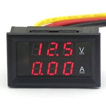 DROK® Rote LED Digital Voltmeter 12V 10A Amperemeter Volt Amp Panel ...