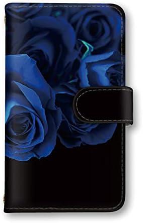 seventwo AQUOS R2 SH-03K / SHV42 / 706SH ケース スマホケース 手帳型 ミラー付 SHARP シャープ アクオス アールツー 【B.ブルー】 薔薇 ローズ 花柄 flower_002