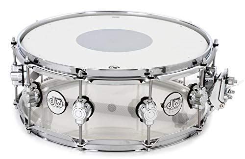 DW Design Series Clear Acrylic Snare - 5.5 Inches X 14 Inches (Snare Drum Acrylic)