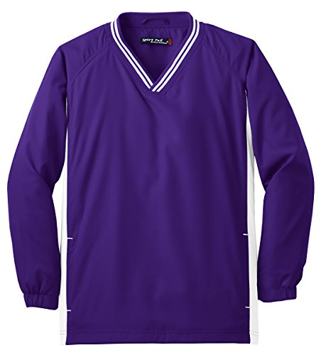 Youth Tipped V-Neck Raglan Wind Shirt XL Purple/White