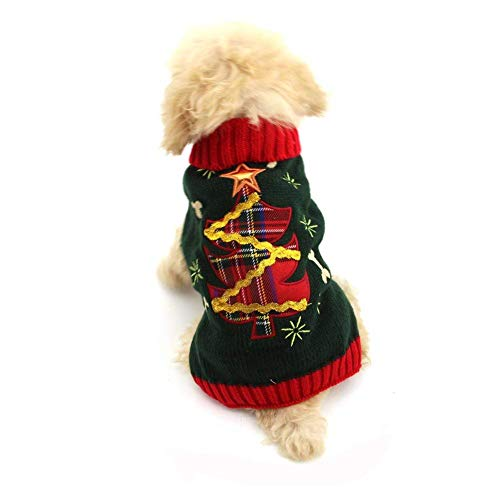 fogohill Dogs&Cats Pet Costume Sweaters Festival Xmas Turtleneck Christmas Tree Cartoon Shape Sweaters Pet Blackish Green Small -