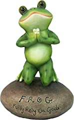 "Are you a frog lover or know a friend who loves frogs? This piece presents a perfect tabletop statue with an inspirational religious phrase. This cute frog is in a praying position, with the words ""F.R.O.G. Fully Rely On God"" on the pebble   ..."