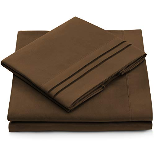 Full Size Bed Sheets - Chocolate Luxury Sheet Set - Deep Pocket - Super Soft Hotel Bedding - Cool & Wrinkle Free - 1 Fitted, 1 Flat, 2 Pillow Cases - Dark Brown Full Sheets - 4 Piece