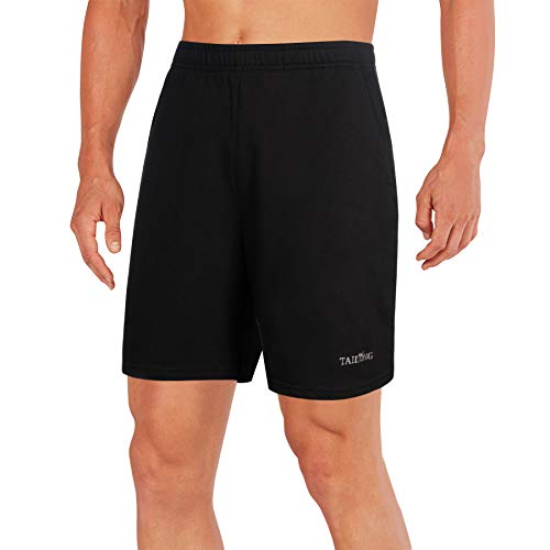 TAILONG Quick Dry Running Shorts Workout Exercise Clothes with Pockets Fitness Short for Yoga, Jogging, Basketball (Black, M)