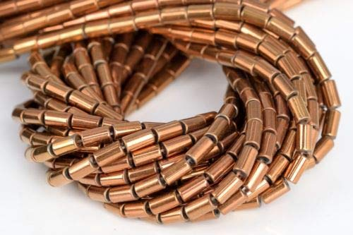 - 5x3mm Rose Gold Hematite Round Tube Grade Natural Gemstone Loose Beads 7.5'' Crafting Key Chain Bracelet Necklace Jewelry Accessories Pendants
