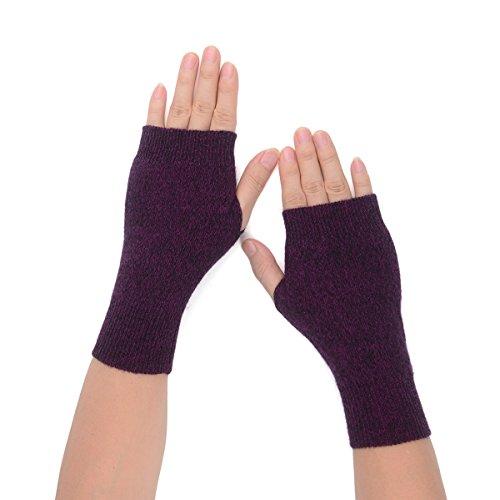 Flammi Womens Knit Fingerless Gloves Cashmere Mittens Warm Thumb Hole Gloves (Purple)