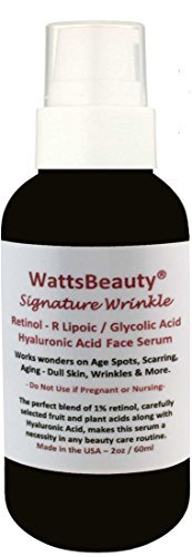 Watts Beauty Signature Wrinkle Retinol - Hyaluronic Acid - Glycolic Acid Gel for Wrinkles, Age Spots, Aging, Dull Skin, Scarring, Discoloration & More (2oz) Made in USA by Watts - Online Mall In Shopping Usa