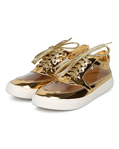 Alrisco Women Perspex Low Top Sneaker - Round Toe Lucite Sneaker - Trendy Fashion Casual Walking Shoe - HC46 by Liliana Collection Gold Metallic HIxCj