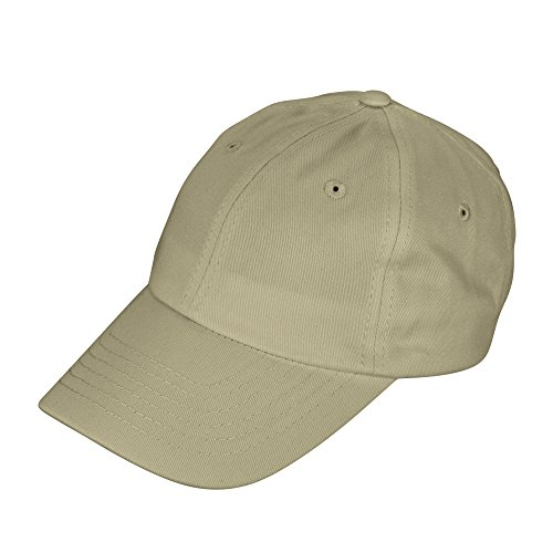 hildrens Cotton Cap Adjustable Plain Hat - Unstructured (Khaki) (Khaki Unstructured Adjustable Cap)