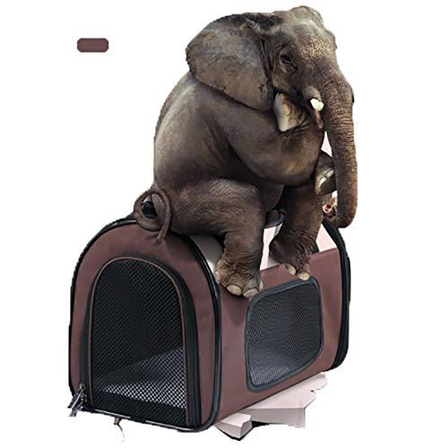 Brown M(503033)Little east Pet Carrier Bag Foldable Dog Backpack Out Portable Dog Bag Cat Cage Pet Expansion Bag (color   Brown, Size   M(50  30  33))