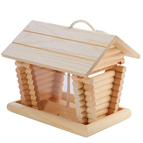 Factory Direct Craft Unfinished Wood Log Cabin Bird Feeder ()