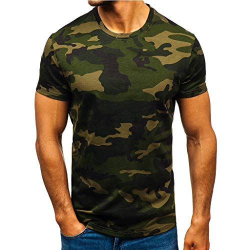 Camouflage Military T Shirt for Men, Kiasebu Mens Short Sleeve Slim fit T-Shirt Sport Running Gym Tee Tops