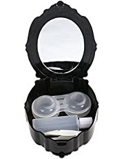 ROSENICE Caja de Lentes de Contacto Kit de Viaje Estuche Lentillas con Pinza Aplicador Botella de Solución Espejo Incorporado Negro