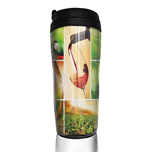 coffee cups holder Wine,Wine Tasting and Grapevine Collage Green Fresh Field Pouring Drink Delicious, Green Ruby Caramel 12 oz,silicone lid for coffee - Grapevine Carafe