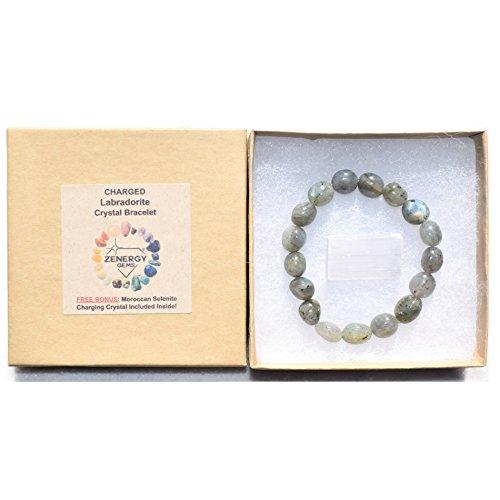 CHARGED Labradorite Crystal Bracelet Tumble Polished Stretchy HEALING ENERGY / TRANSFORMATION / CLARITY REIKI by ZENERGY GEMS