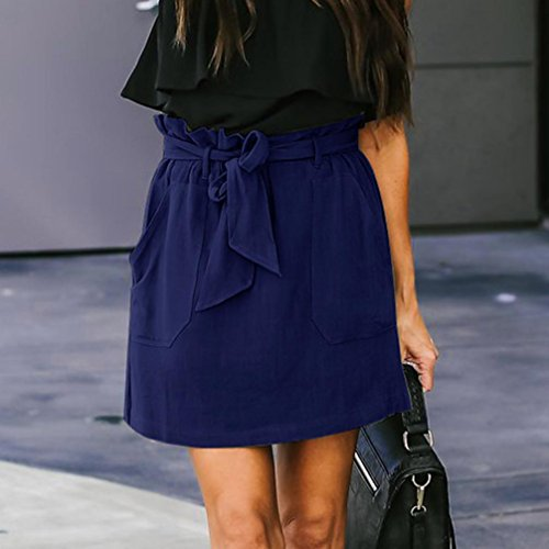 Spbamboo Clearance Sale! Womens Casaul Pocket Pure Color High Waist Summer Skirt by Spbamboo (Image #4)