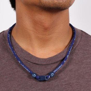 Phiten Aqua Titanium Necklace - Phiten Titanium Necklace Star Star Necklace, Navy, 22 by Phiten