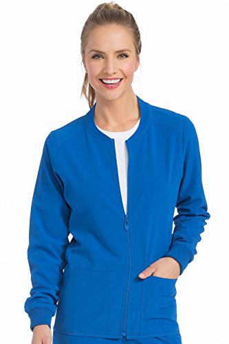 (Med Couture Stretch Zip Front Warm Up Scrub Jacket Women, Royal/Apricot, X-Small)