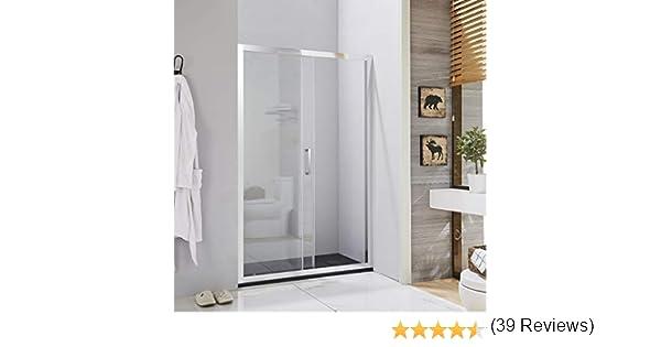 Mampara de ducha con puerta corredera para nicho, perfil cromado ...
