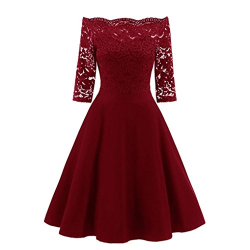 Kaifongfu Women Dress,New Vintage Lace Patchwork Off Shoulder Cocktail Party Retro Swing Dress (XXL, Red)