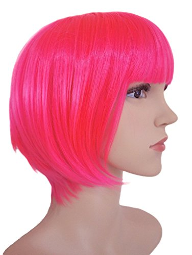 """AnotherMe Short Bob Wig 11.5"""" Heat Resistant Neat bangs Fashion Party Cosplay"""