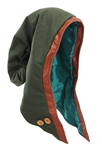Medieval Woodland Green Hooded Faux Leather Trim Cowl by Elope - DeluxeAdultCostumes.com