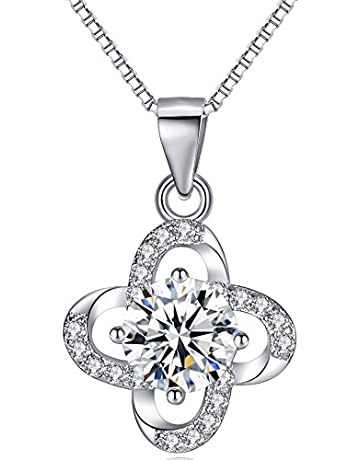 dee87fce0 925 Sterling Silver Necklace Pendant Cubic Zirconia Necklace Sterling  Silver Jewelry