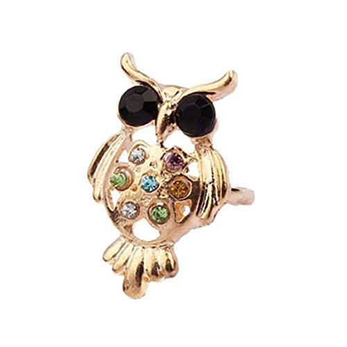 Bessky 2015 Hot Sell Fashion Women Girl Owl Shinning Rhinestones Ring Opening Ring