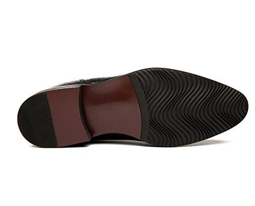 WZG botas de los nuevos hombres ocasionales británica Lun Mading botas botas puntiagudas botas de cuero negro hombres Dongkuan Black
