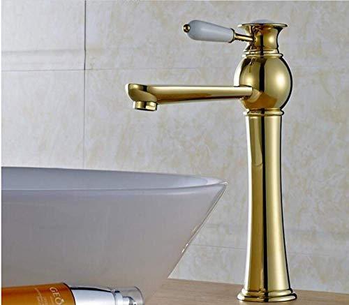 Mounted Hot and Cold Water Basin Faucets Bathroom Golden Shingle Handle Single Hole Sink Taps Bath Washbasin Mixer