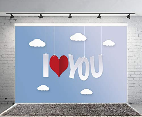 (Leyiyi 7x5ft Heart Shape Banner Photography Background I Love You Hanging Sky Cartoon Cloud Sant Valentine's Day Backdrop Red Heart Clip Art February 14 Celebration Photo Portrait Vinyl Studio Prop)