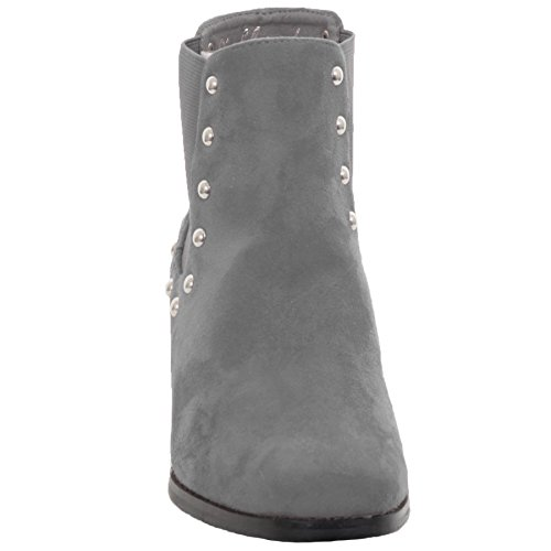 FANTASIA BOUTIQUE ® Ladies Block Chunky Heeled Studded Faux Suede Chelsea Style Ankle Boots Grey D0PCtfq