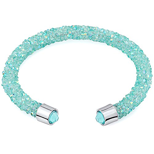 Silver & Post New! Turquoise Cuff Bracelet Design with Crystals from Swarovski, Gift Box Included