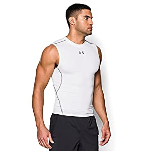 Under Armour Men's HeatGear Armour Sleeveless Compression Shirt, White /Graphite, Large
