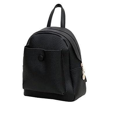 good LHWBA Women Backpack PU All Seasons Casual Round Zipper Gray Red Black