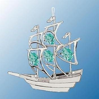 Chrome Sailboat Ornament - Green Swarovski Crystal