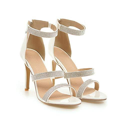 Women Sandals Thin High Heel Rhinestone PU Leather Pointed Toe Zipper,White,10