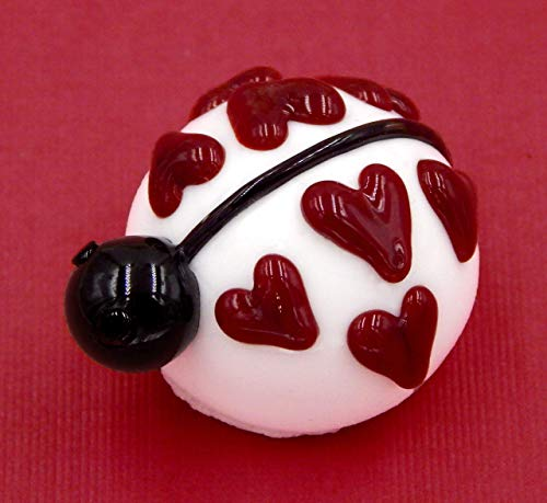 Truffles Ladybug - Art Glass White Chocolate Lady Bug Love Heart Gift Handmade Home Décor
