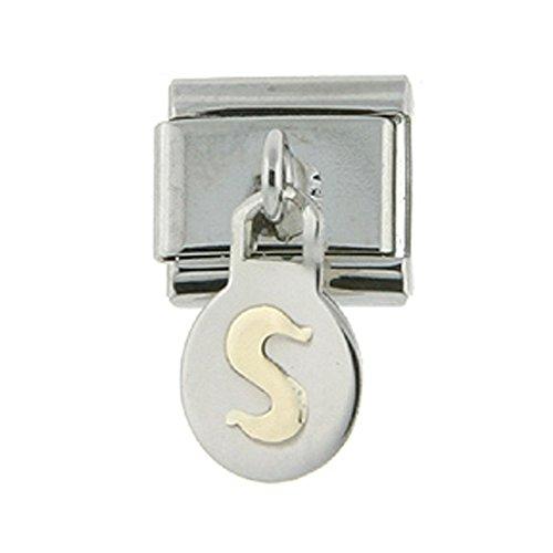 Stainless Steel 18k Gold Hanging Italian Charm Initial Letter S for Italian Charm Bracelets