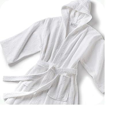 Spa & Resort Lightweight White 42 inch Hooded Terry Bathrobe. Solf 100% Cotton Terrycloth