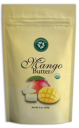 Organic Mango Butter - USDA Certified, Pure, Natural, DIY Skin/Hair Care, Unscented (8 oz)
