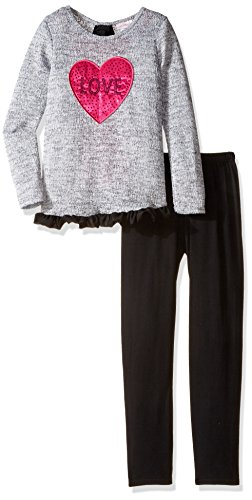 Emily West Big Girls' Sweater Knit Love Tunic with Ruffled Trim and Knit Leggings, Grey/Black, 10 (Tween Leggings)