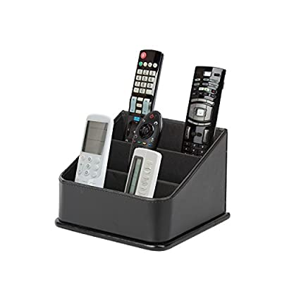 JackCubeDesign 3 Compartments Black Leather Remote Control Organizer Holder, Controller TV Guide, Media Storage Box - MK122B